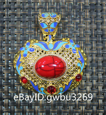 Tibet Silver copper Inlaid Rad  Zircon Handwork Heart shape Pendants
