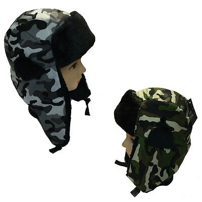 Unisex Ladies/ Men Green Grey Camouflage Ear Lap Hats Camouflage Assorted