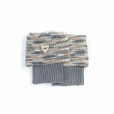 NWT MUK LUKS Ladies Warm Knit Heart Button  Boot Toppers OSFM