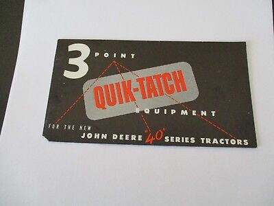 1953 John Deere 3 Point Quik-Tatch Equipment 40 Series Small 24 Page Brochure