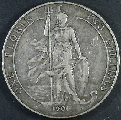 GREAT BRITAIN 1 Florin (Two Shillings) 1904 - Silver Coin - Edward VII