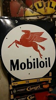 Insegna smaltata Mobiloil - Sign vintage Mibiloil years 50""