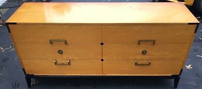 c 1960s Tommi Parzinger Originals Dresser Cabinet Chest Maple with Inlay MCM