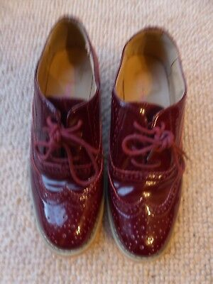 Women Ladies Dolcis  Brogues Shoes Low Block Heel Lace Up RED/WINE PATENT size 4
