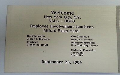 1984 Nalc & Usps Employee Involvement Luncheon ~ Souvenir Booklet ~ New York, Ny