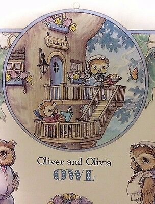 Lot of 10 Oliver & Olivia Owl Kathy Lawerence Paper Doll Print Poster Nursery