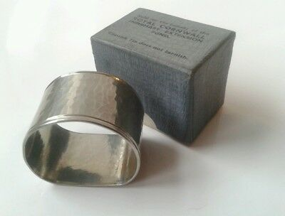 Rare Vintage hammered Cornish tin napkin ring original box Truro Cornwall