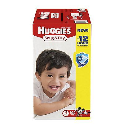 FREE SHIPPING! Huggies Snug & Dry Diapers, Size 4, 192 Count