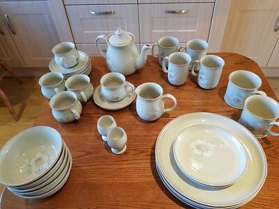 Collection of Denby Daybreak Pottery. Dinner ware and Coffee or Tea Set. VGC