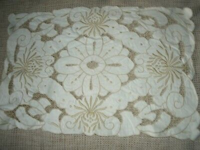 "8 Cream cotton embroidered cut work table/place mats 15""x10"""