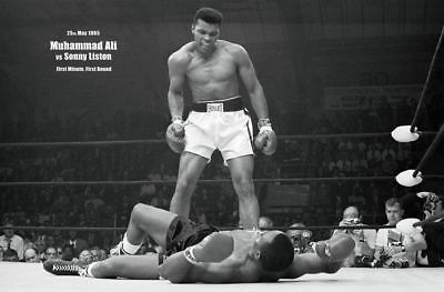 Muhammad Ali vs Sonny Liston First Minute Landscape Sport Poster 36x24 NEW