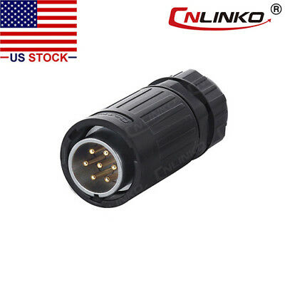 7 Pin Power Signal Industrial Connector Male Plug Outdoor Waterproof IP67 AC DC
