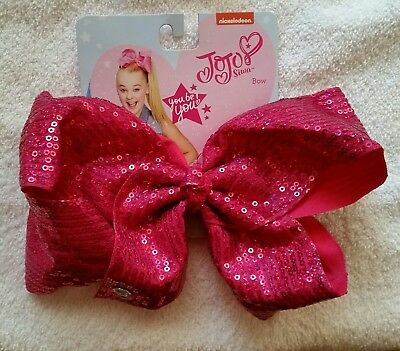 NWT SIGNATURE JoJo Siwa LARGE BRIGHT SPARKLE PINK BOW NICKELODEON ☆ FREE SHIP ☆