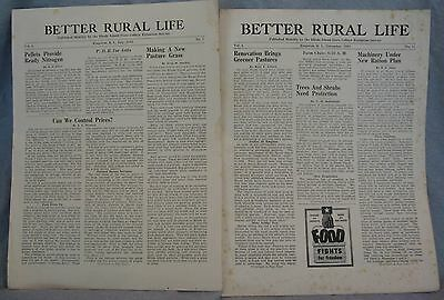 2 Original Copies Better Rural Life by Rhode Island State College 1943 Farm Life