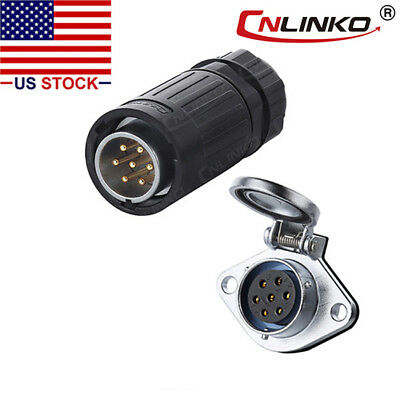 CNLINKO 7 Pin Power Signal Connector Male Plug & Female Socket Waterproof IP67