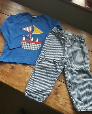 Boys Baby Boden Christmas Winter Outfit Trousers  and Top 18-24 months Worn Once