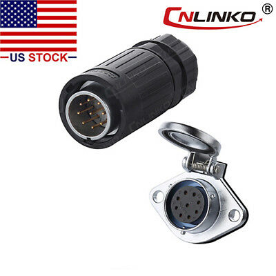 CNLINKO 9 Pin Power Signal Connector Male Plug & Female Socket Waterproof IP67