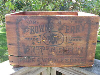 Antique DR. BROWNS Berry BITTERS Shipping CRATE Nice PATINA Super BEE GRAPHICS !