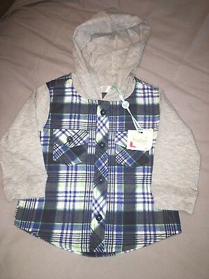 M&Co Baby Boys Checked Shirt With Hood 6-9 Months