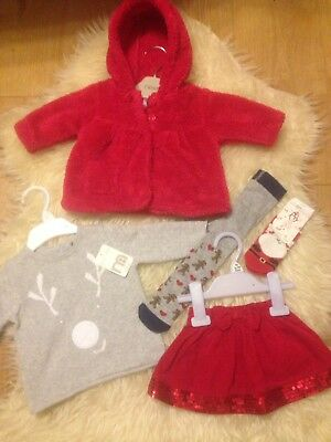 Cute 0-3M Festive 5 Piece Outfit 3 Mothercare Items/1 Next Coat 3 New Items 10P!