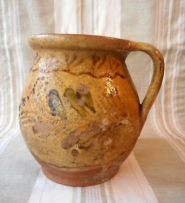 Small Yellow Primitive Slipware Stoneware European Pitcher Jug