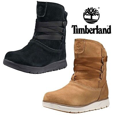 NEW Timberland Women Leighland Pull On Insulated Waterproof Winter Suede  Boots 952908ed5d88