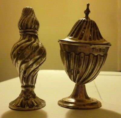 Two Georgian Solid Silver Pepper Pounce Pots ~ 73g
