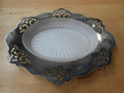 Vtg Silver Plated Benedict Proctor Canada 984 E.p.n.s. Condiment Plate Glass