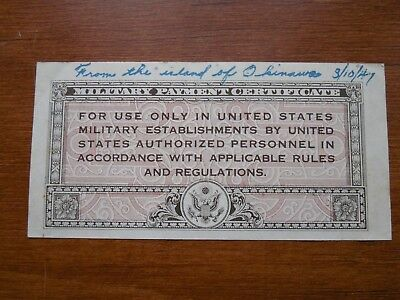 series 461 five cent military payment certificate-1941 note from Okinawa-history