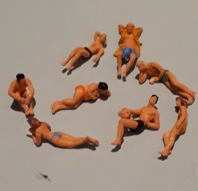 Preiser ho/00 figures/people SWIMMERS/ BATHERS AT THE BEACH X 8  handpainted