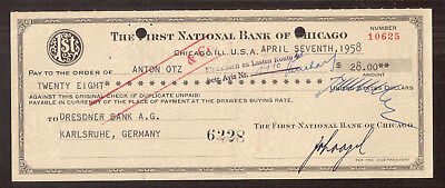 """Chicago 7.4.1958 Scheck """" THE FIRST NATIONAL BANK OF CHIGAGO """""""