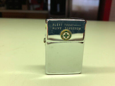 Old Vtg PARK Cigarette Lighter Alert Today Alive Tomorrow Decal Made In The USA