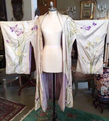 Antique Art Nouveau Hand Embroidered Silk Kimono Turn of Century Asian Textile