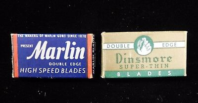 Vintage MARLIN High Speed and DINSMORE Super-Thin 2-Edge BLADES (TH331)
