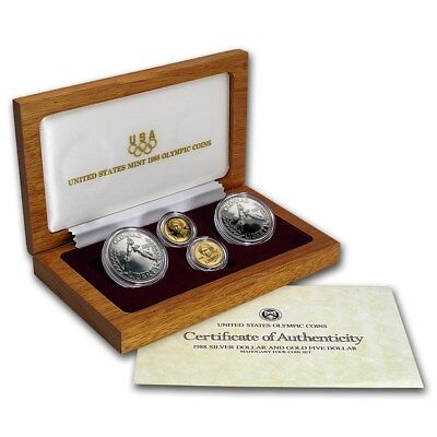 1988 US Olympic 4 Coin BU and Proof Gold and Silver Coin Set