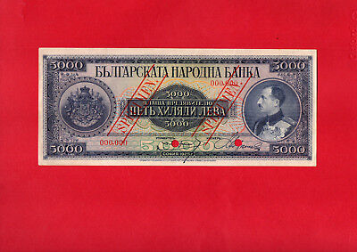 Bulgaria 5000 Leva 1925 Spesimen  Rare And In Superb  Unc ,never Been Tоuched