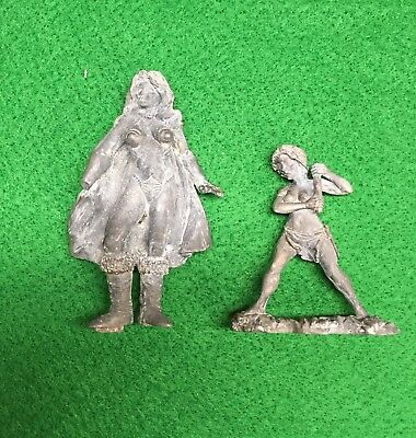 80mm Warrior Woman missing hand and 54mm Woman Warrior with broken Weapon