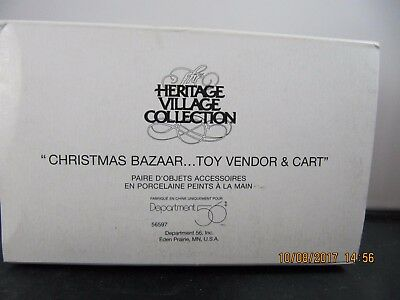 """Dept 56 Heritage Village Accessory """"toy Vendor & Cart"""" # 5636-4 New In Box!"""