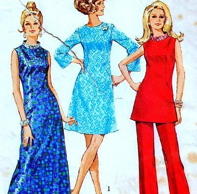 """Vintage 70s DRESS Tunic PANTS Sewing Pattern Bust 36"""" Sz 12 RETRO Evening PARTY"""