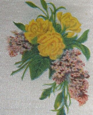 Vintage tobacco cigarette silk - use in crazy quilt - FLOWERS CARNATIONS LILACS