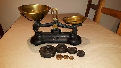 Vintage Libra Cast Iron & Brass Scales - Complete with Weights