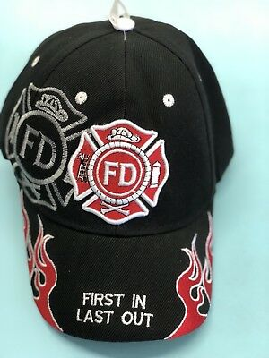 Embroidered Baseball Cap Fire Department First In Last Out NEW 1 fits all Black