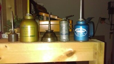 Lot of  5 Vintage oiler cans, Pump and Thumb,Eagle  others.