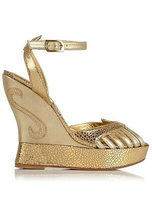 Terry de Havilland Gold Margaux Wedges Suede Metallic Python Leather With Box.