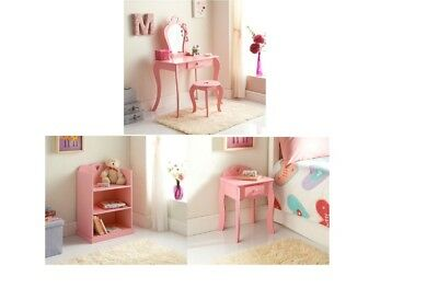 Cute Girls Room Amelia PINK Dressing Table, Bookcase & Matching Bedside Cabinet