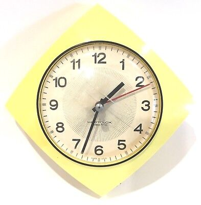 Vintage Westclox Yellow Mid Century Retro Electric Wall Clock  5-3/4""