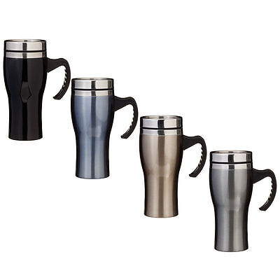 Stainless Steel Coloured double walled,insulated travel mug Spill resisitant Lid