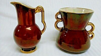 Carlton Ware Rouge Royale Double Handle Vase And Footed Pitcher