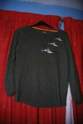 Joules Collection green duck flying jumper U.K size 16