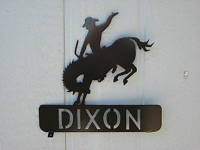 Bronc Rider Mailbox Topper (Your Name) Steel Textured Black Powder Coat Finish